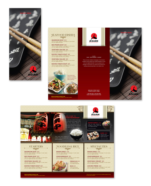 asian restaurant take out menu template