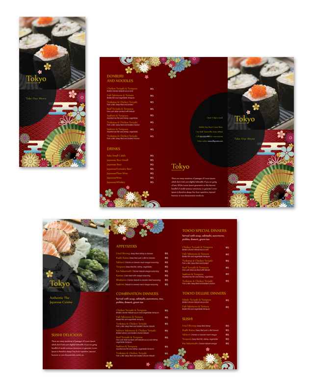 Japanese restaurant take out menu template pronofoot35fo Choice Image