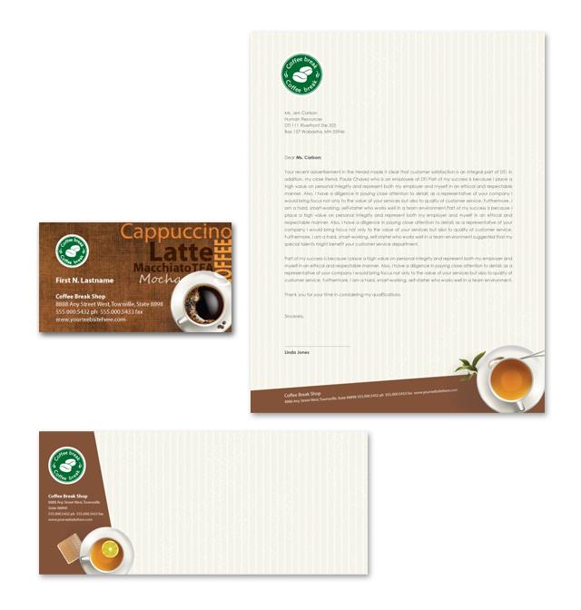 Coffee Shop Stationery Kits Template