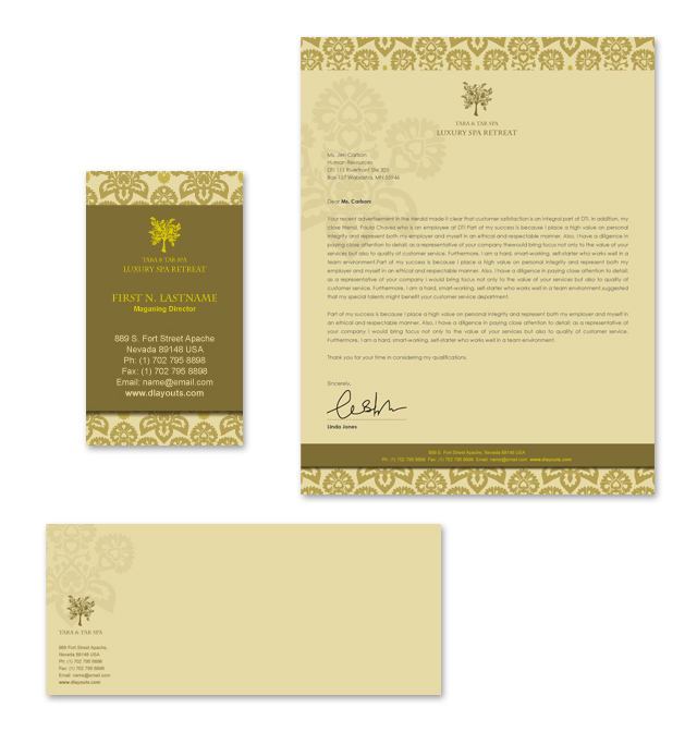 Natural Day Spa & Massage Stationery Kits Template