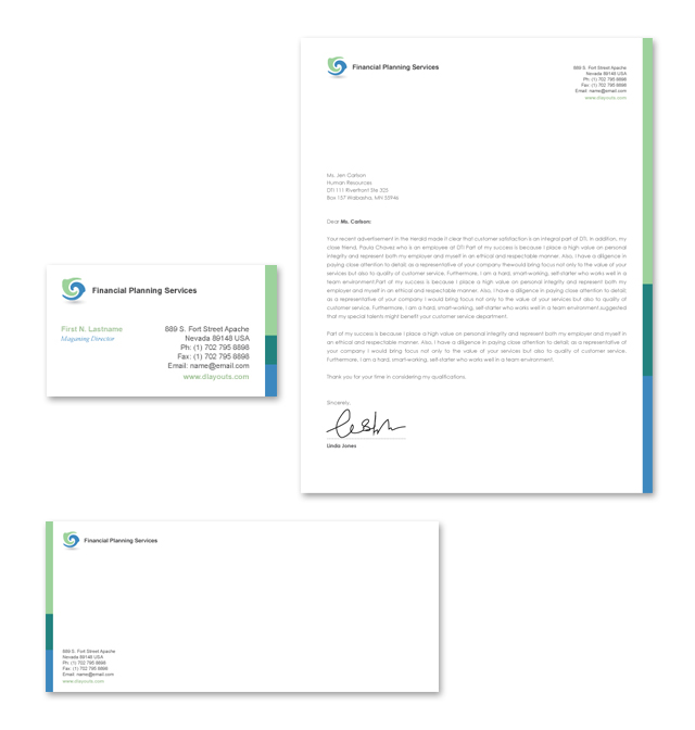 Financial Planning & Consulting Stationery Kits Template