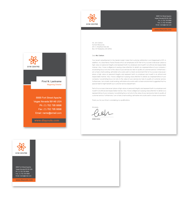 Gym Centre Stationery Kits Template