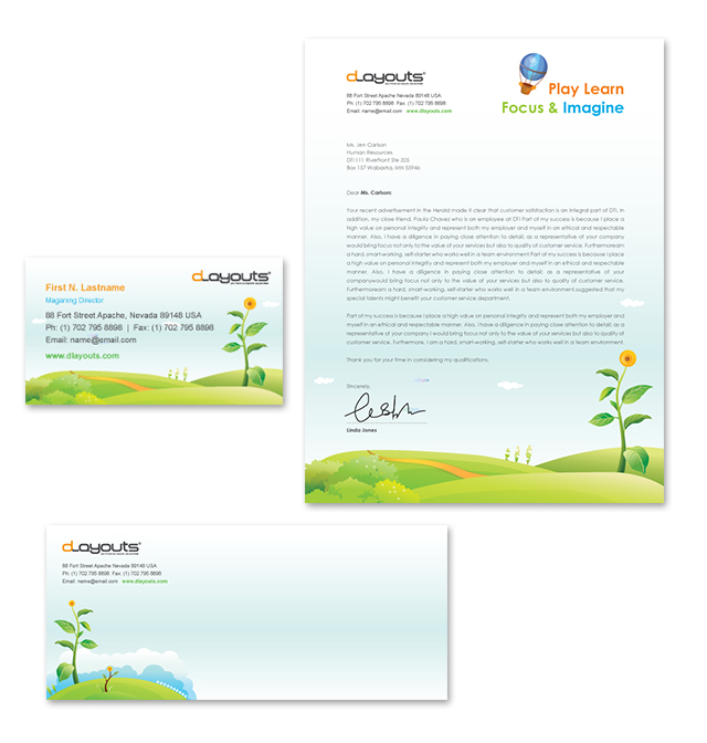 Child Education Center Stationery Kits Template