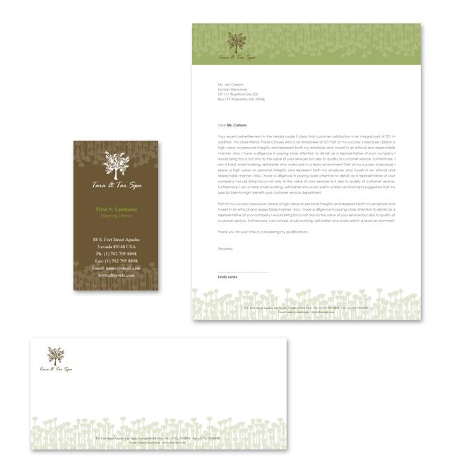 Natural Spa & Massage Stationery Kits Template
