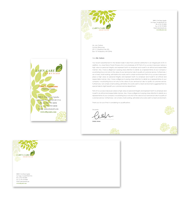 Lawn Care Services Stationery Kits Template