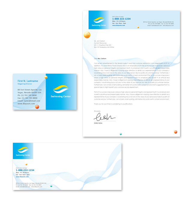 Swimming Lessons Stationery Kits Template