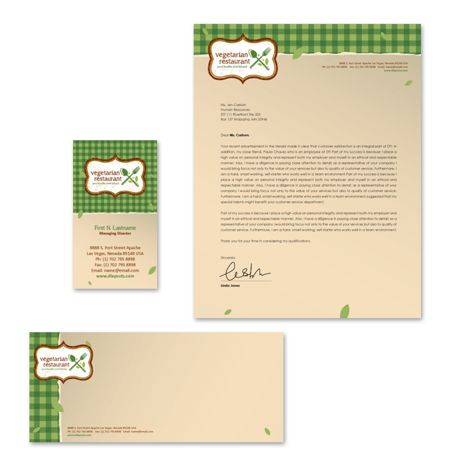 Vegetarian Restaurant Stationery Kits Template
