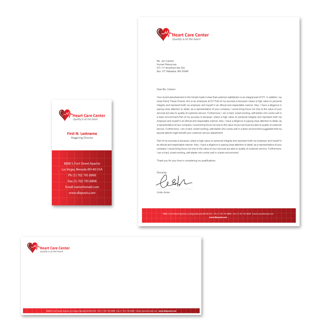 Heart Care Center Stationery Kits Template