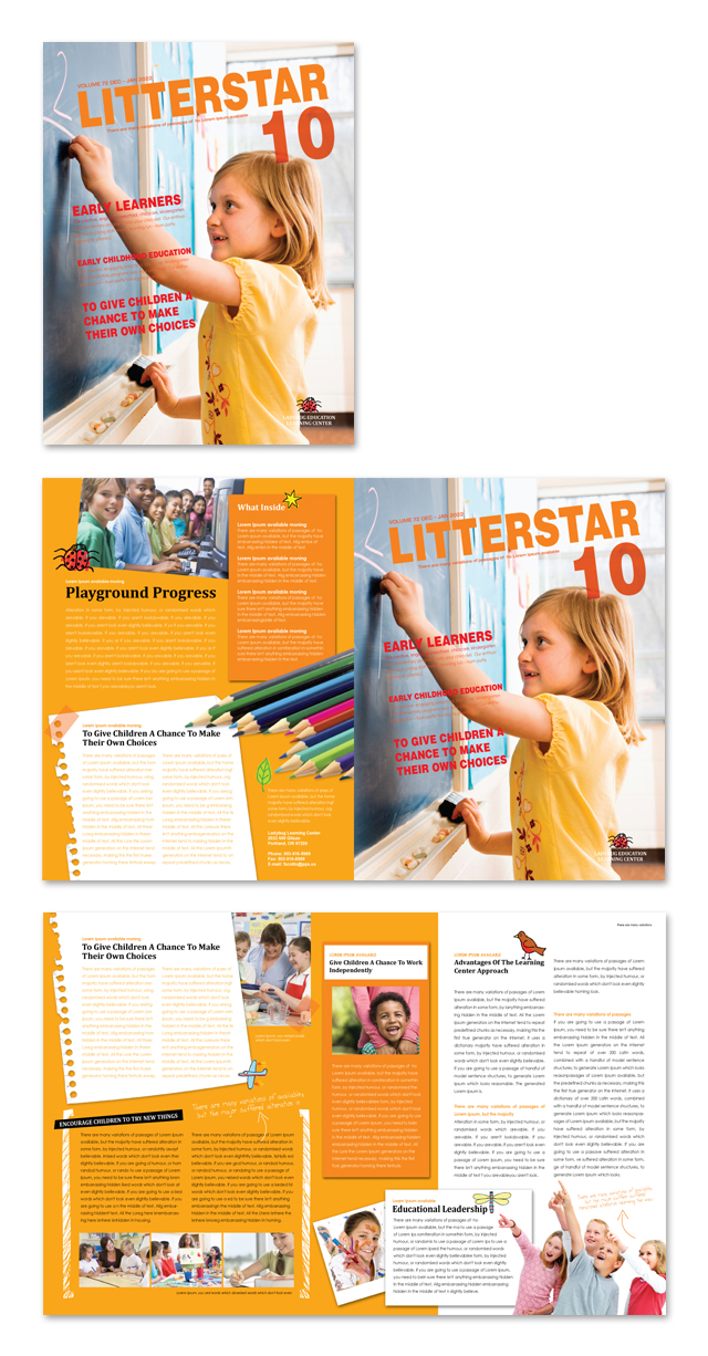 learning center elementary school newsletter template