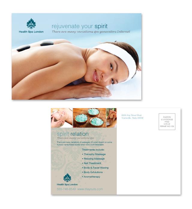 Day Spa & Beauty Salon Postcard Template