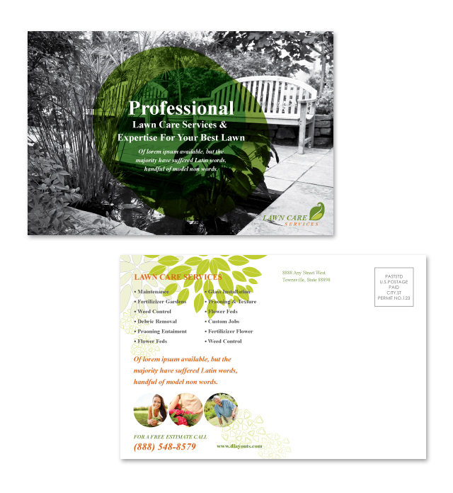 Lawn Care Services Postcard Template
