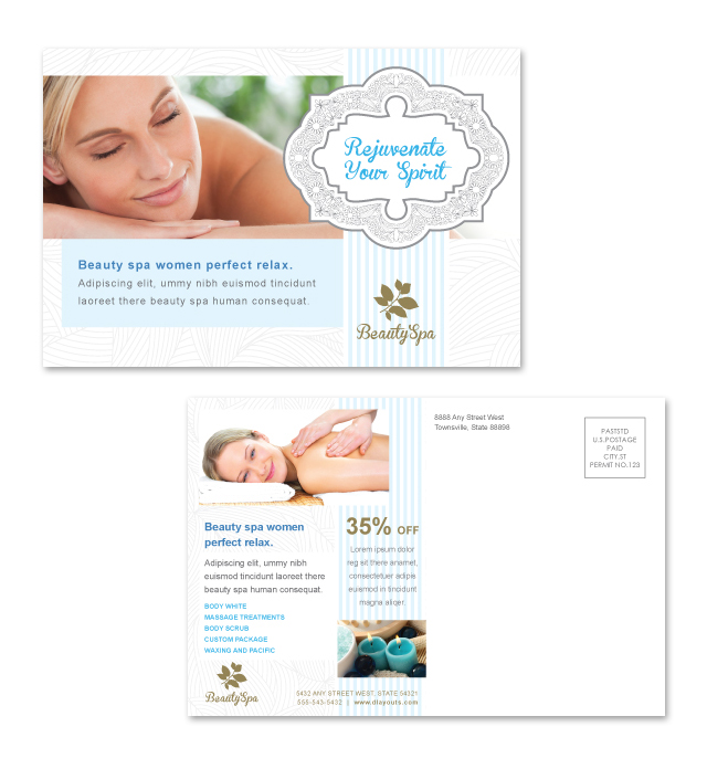 Beauty Spa Salon Postcard Template