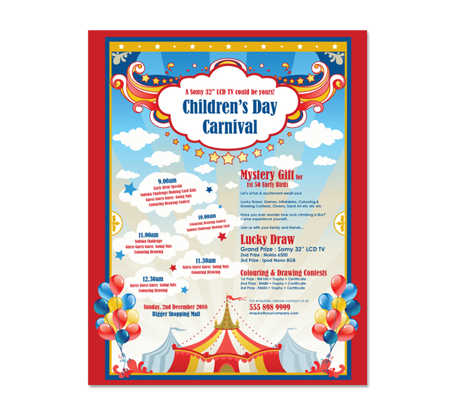 carnival posters template kids carnival day poster
