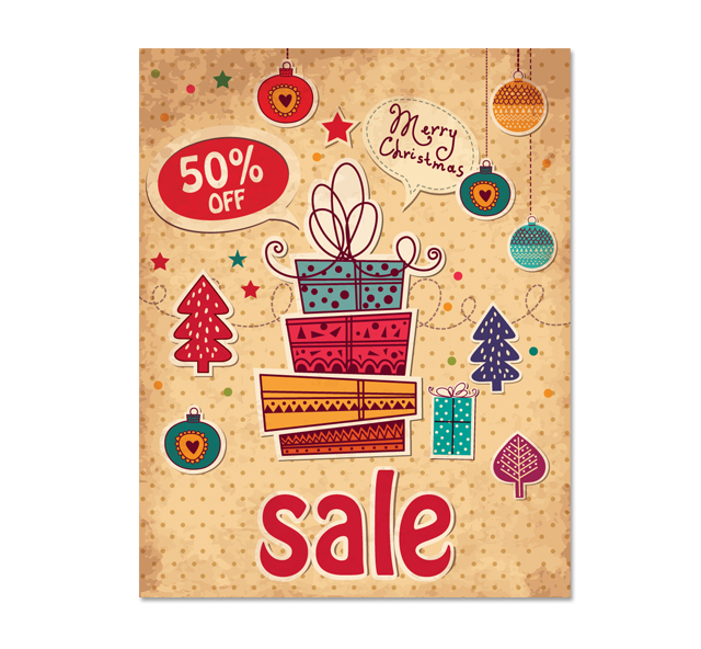 christmas gift sale poster template
