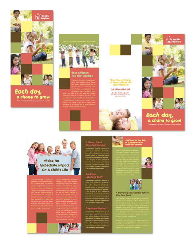 Child development school tri fold brochure template for Tri fold school brochure template