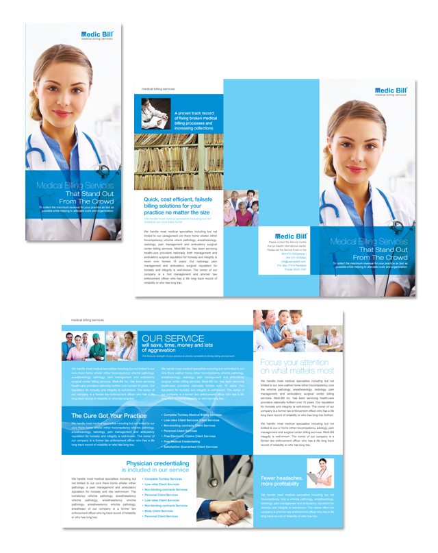 medical billing services tri fold brochure template
