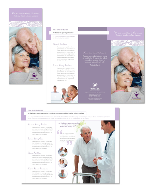 Elder care nursing home tri fold brochure template for Home care brochure template