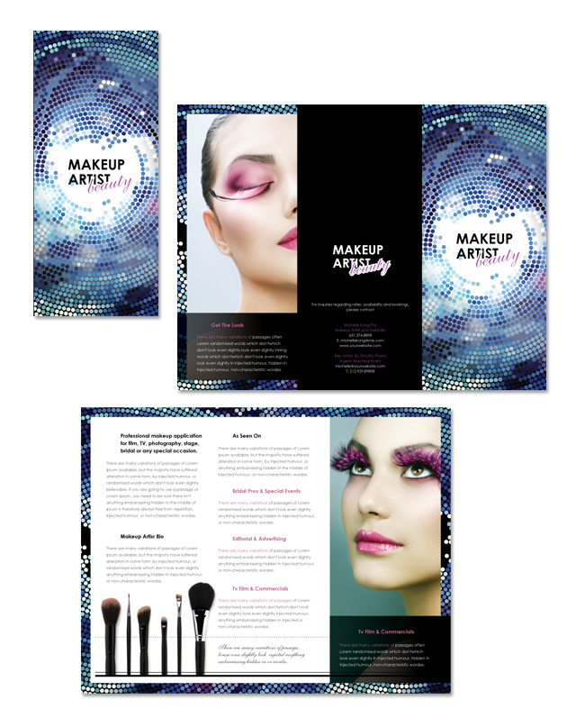 Makeup artist tri fold brochure template for Art brochure template