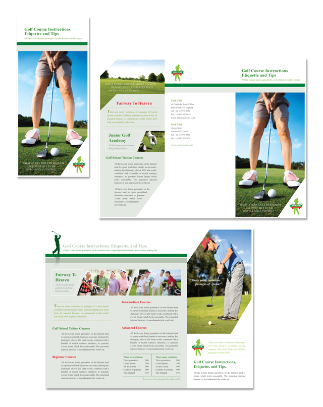 Golf course instruction tri fold brochure for Golf brochure template