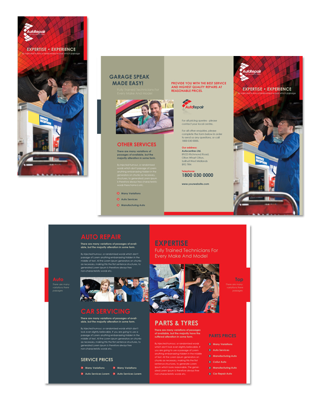 auto repair center tri fold brochure template