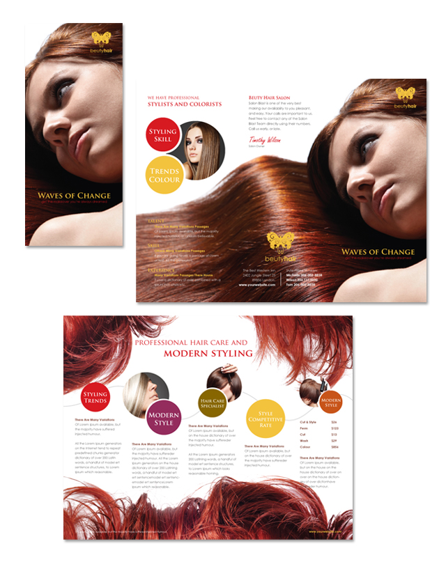 Hair Stylist Salon Tri Fold Brochure Template - Hair salon brochure templates