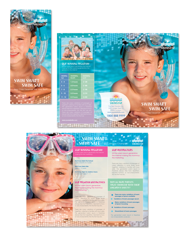 Swimming lessons instruction tri fold brochure template for Instruction leaflet template