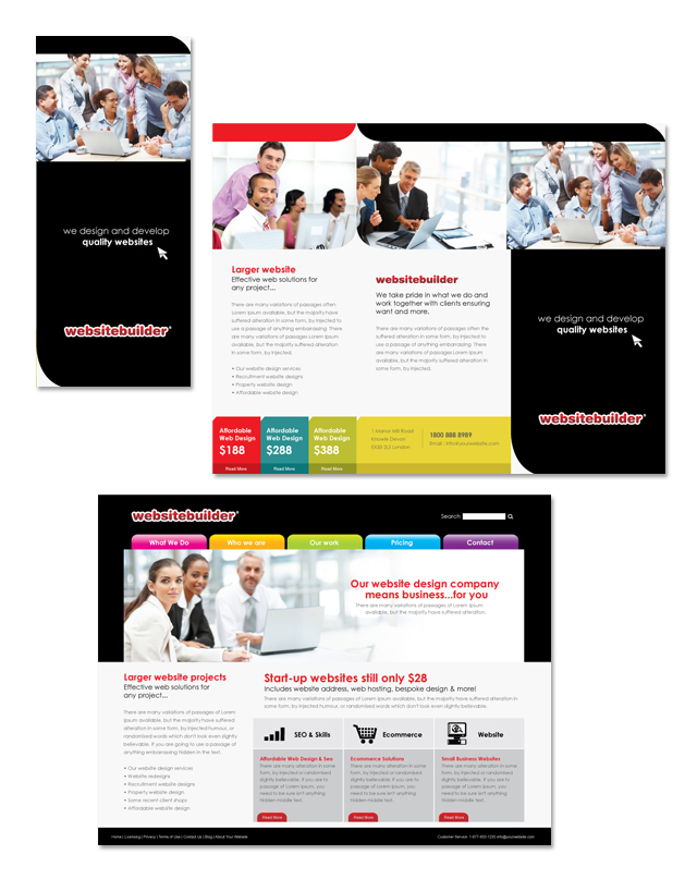 Website Builder Company Tri Fold Brochure Template