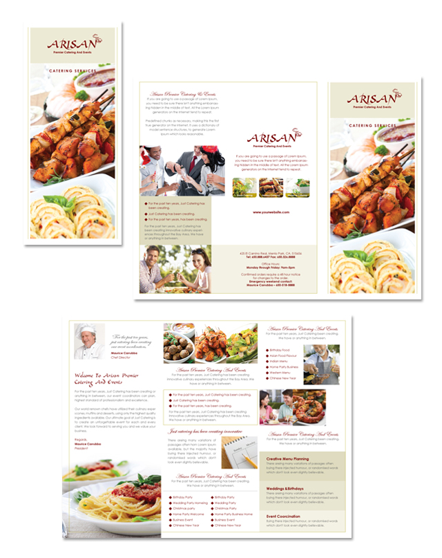 Corporate event planner caterer tri fold brochure template for Wedding planner brochure template