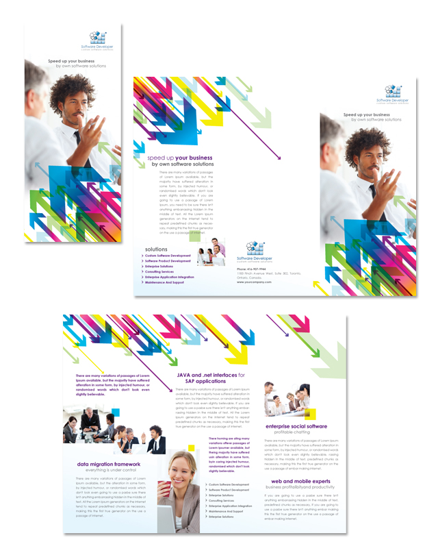 Software Developer Tri Fold Brochure Template