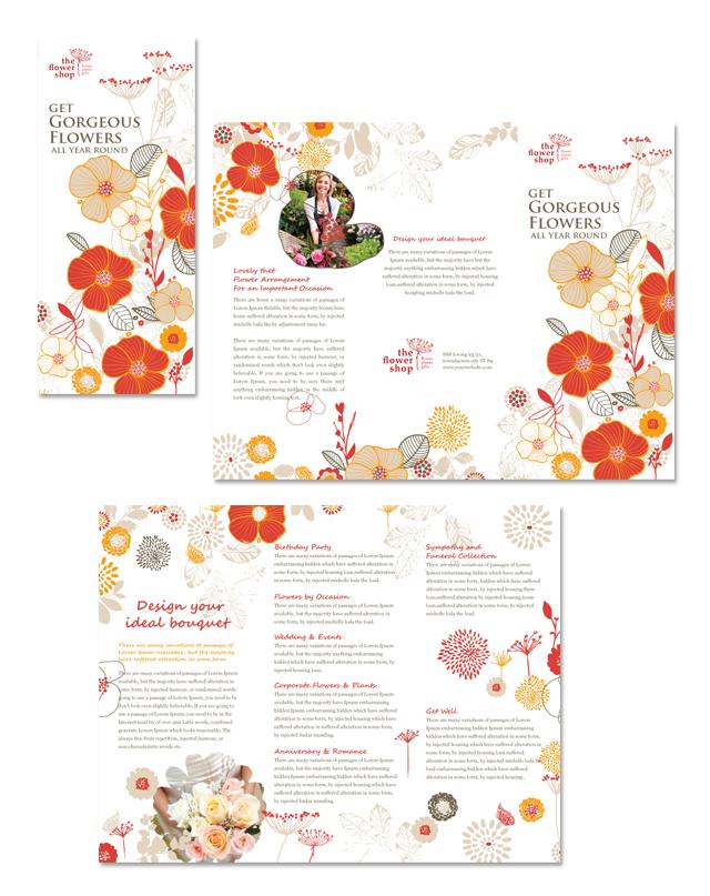 Florist Shop Tri Fold Brochure Template
