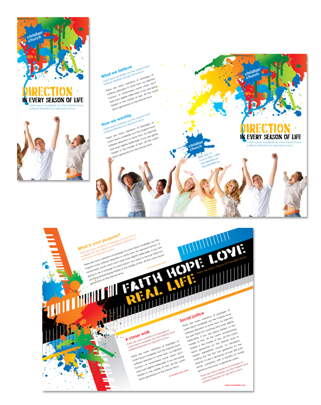 christian church youth ministry tri fold brochure template