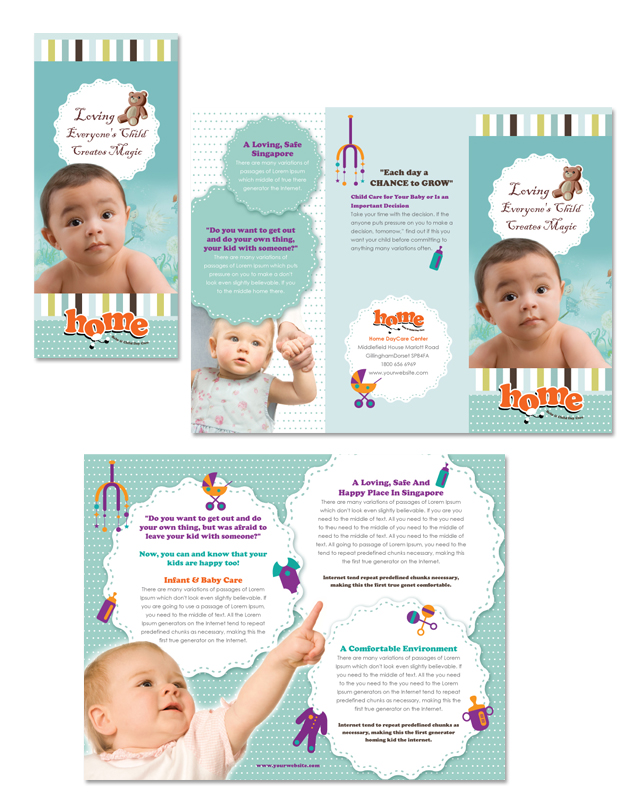 Baby Toddler Child Day Care Tri Fold Brochure Template - Child care brochure templates free