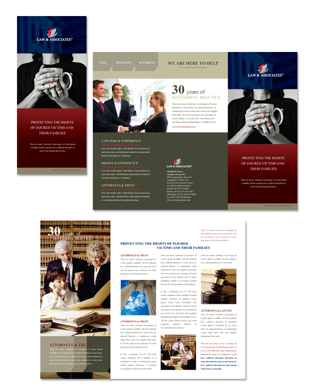 Lawyer law firm tri fold brochure template for Legal brochure template