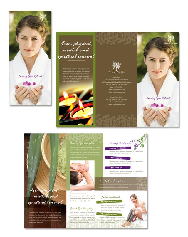 Natural Day Spa & Massage Tri Fold Brochure Template