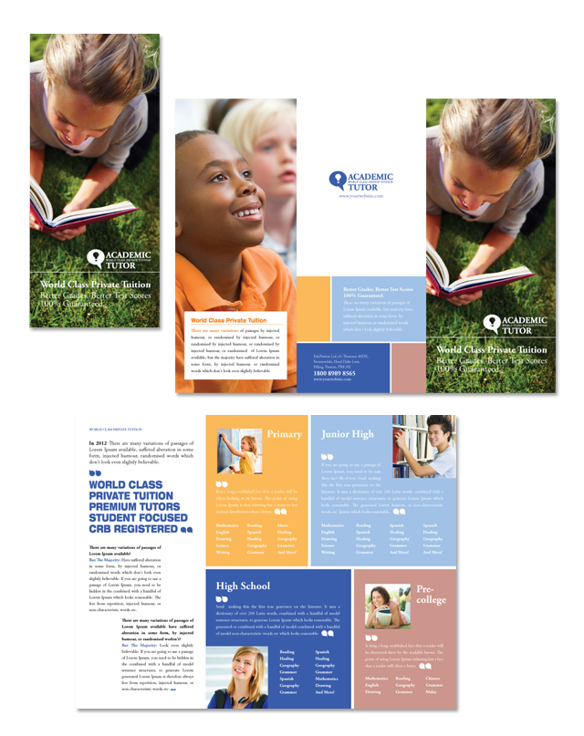 Academic Tutor School Tri Fold Brochure Template - High school brochure template