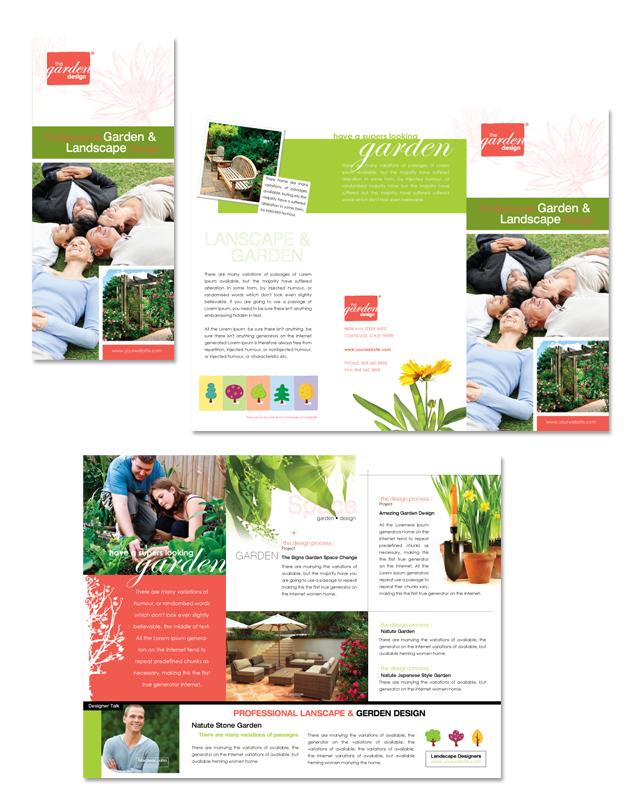 Garden & Landscape Design Tri Fold Brochure Template