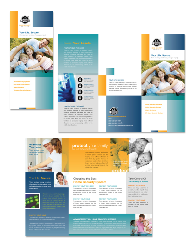 Home Security Systems Tri Fold Brochure Template