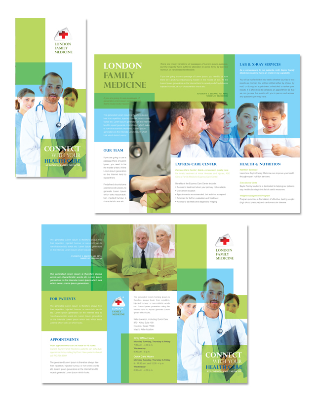Family medicine clinic tri fold brochure template for Clinic brochure template