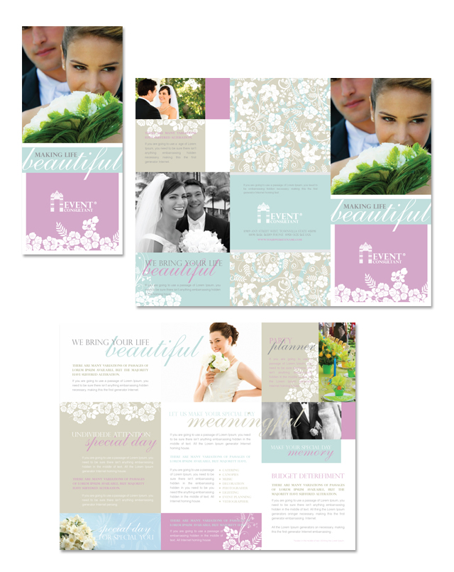 wedding event planning tri fold brochure template. Black Bedroom Furniture Sets. Home Design Ideas