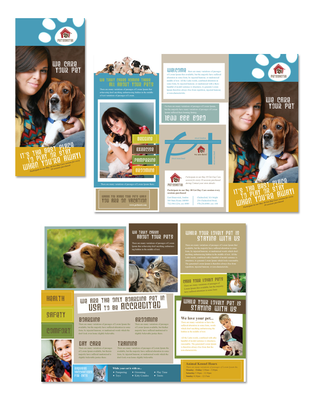 Dog Kennel Pet Day Care Tri Fold Brochure Template DLayouts - Child care brochure template free