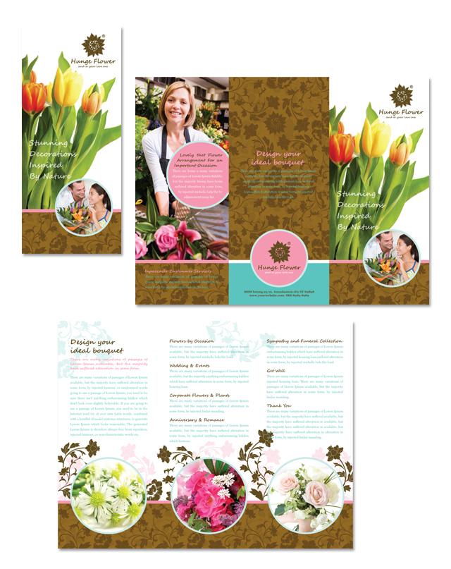 Flower Shop Tri Fold Brochure Template