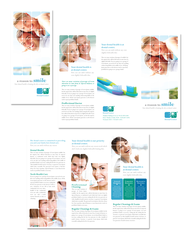 Dentistry dental office tri fold brochure template for Office brochure templates