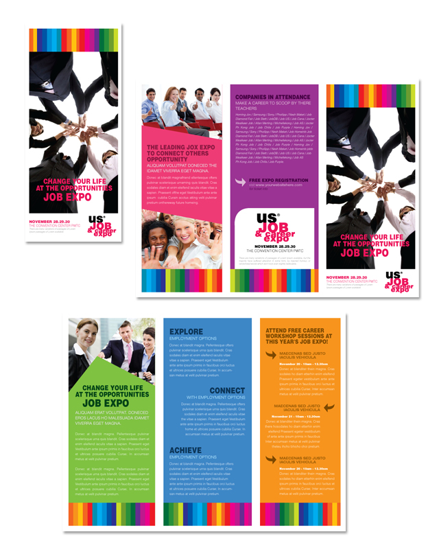 job expo career fair tri fold brochure template