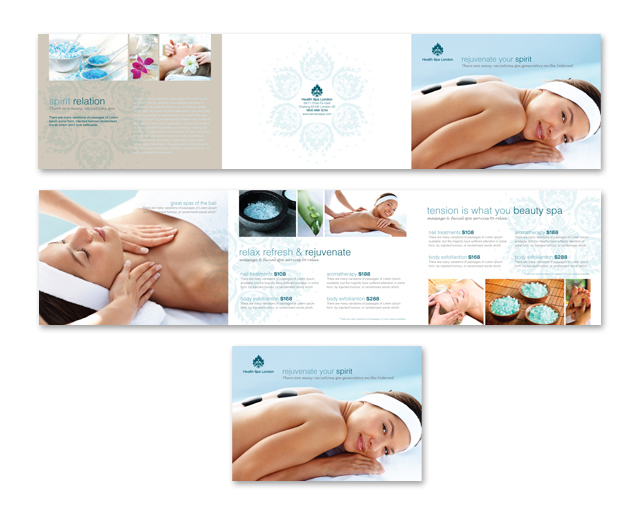 Day Spa  Beauty Salon Tri Fold Brochure Template