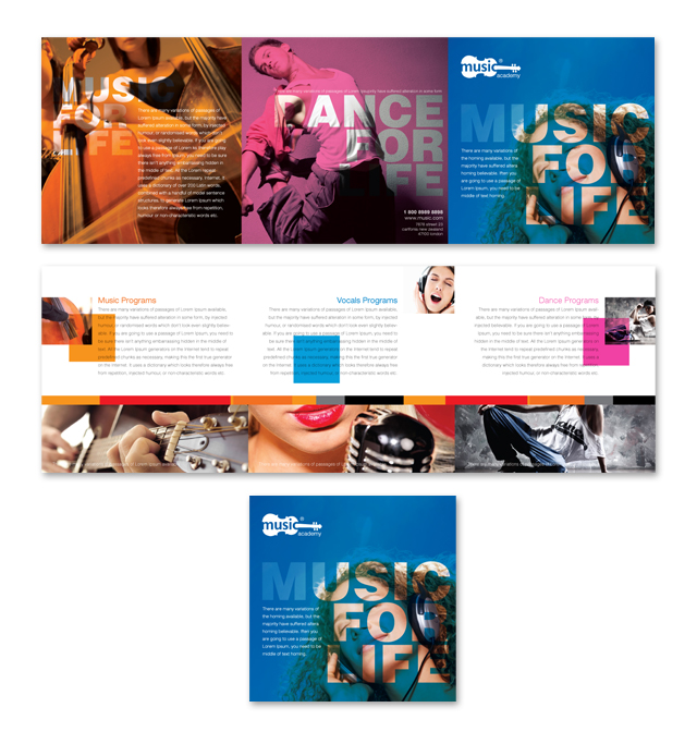 music brochure templates - music school tri fold brochure template dlayouts graphic
