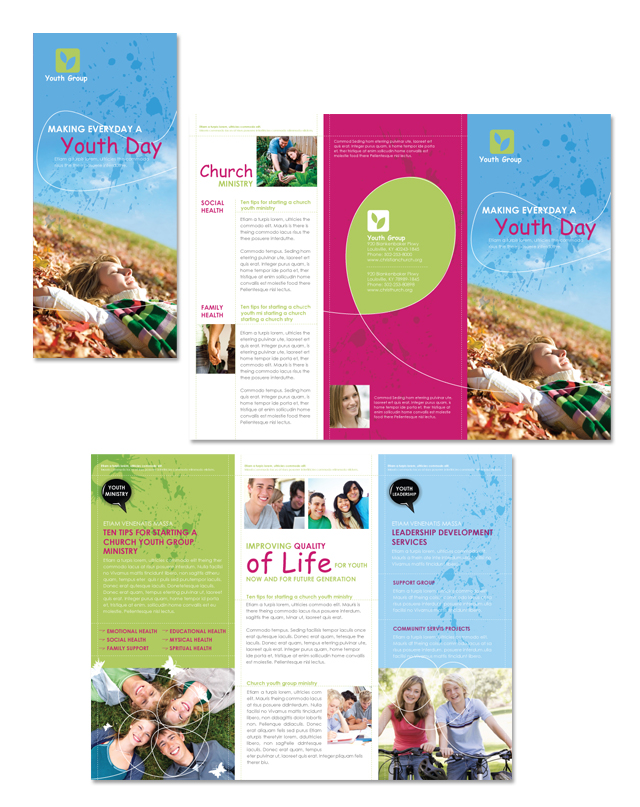 church brochure template - church ministry youth group tri fold brochure template
