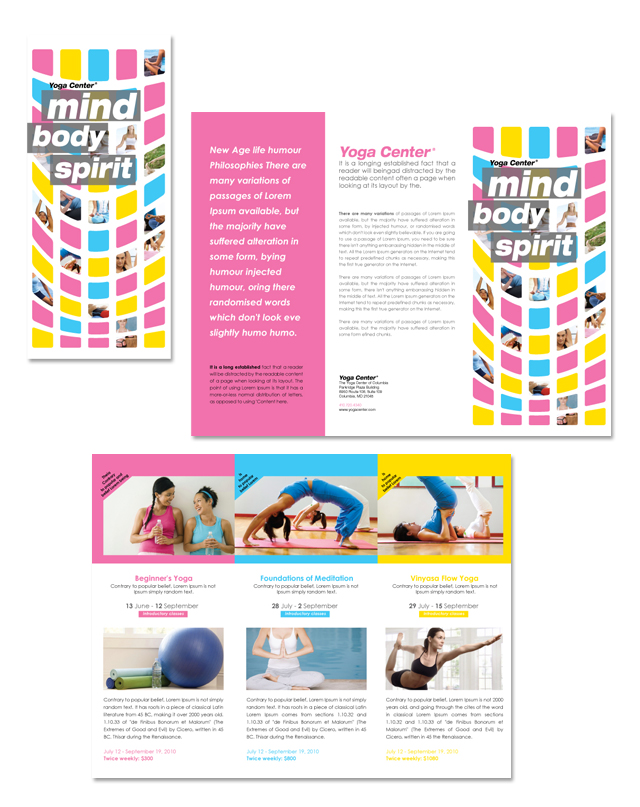 Yoga instructor studio tri fold brochure template for Yoga brochure templates
