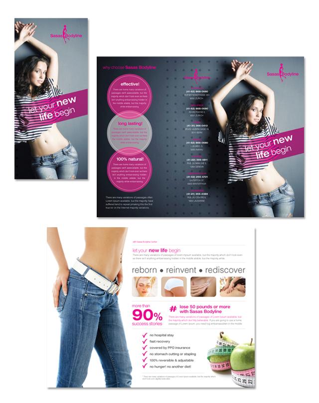 Beauty & Weight Loss Center Tri Fold Brochure Template