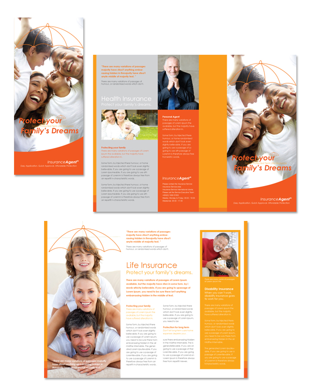 Insurance agent tri fold brochure template for Insurance brochure template