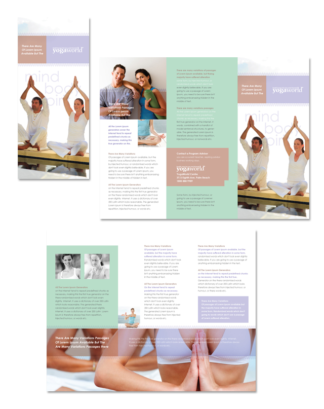 Pilates Yoga Tri Fold Brochure Template - Brochure flyer templates